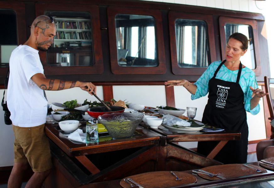 Rahung and Janet demonstrating the fine art of Indonesian cuisine