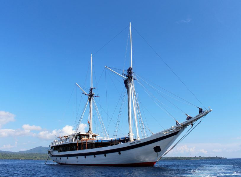The majestic Pinisi schooner, Ombak Putih - not a bad way to sail the seas!