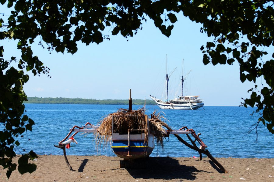 The trusty Ombak Putih at anchor off Moyo Island