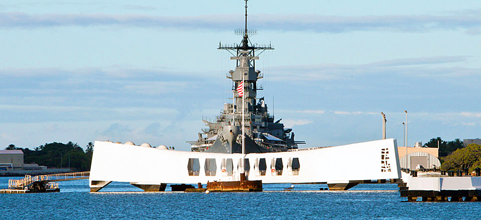 The memorial at the battleship Arizona which was sunk in the Japanese raid on Pearl Harbour