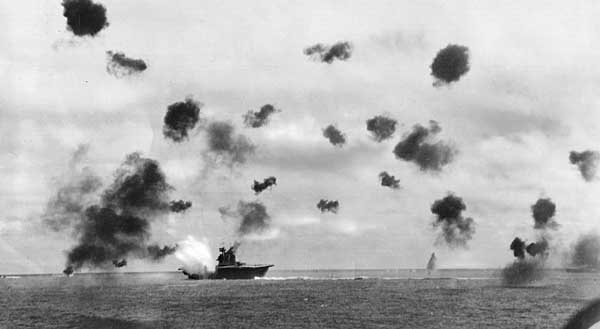 The furious battle at Midway stopped the Japanese advance in the Pacific