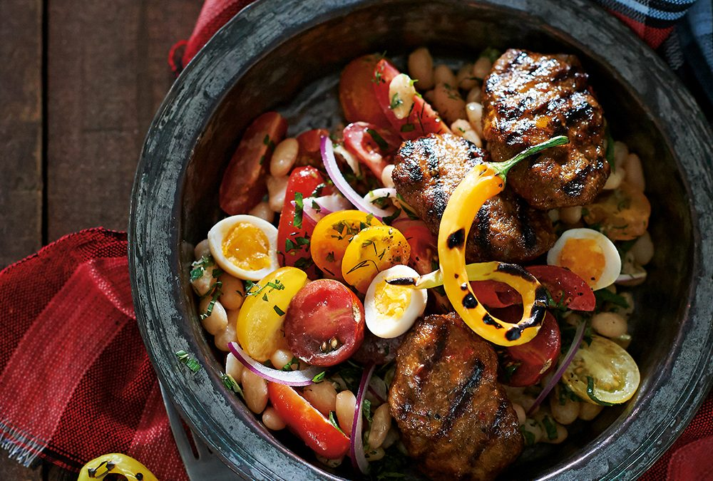 Turkish Recipe: Veal Meatballs with White Beans & Tahini Salad